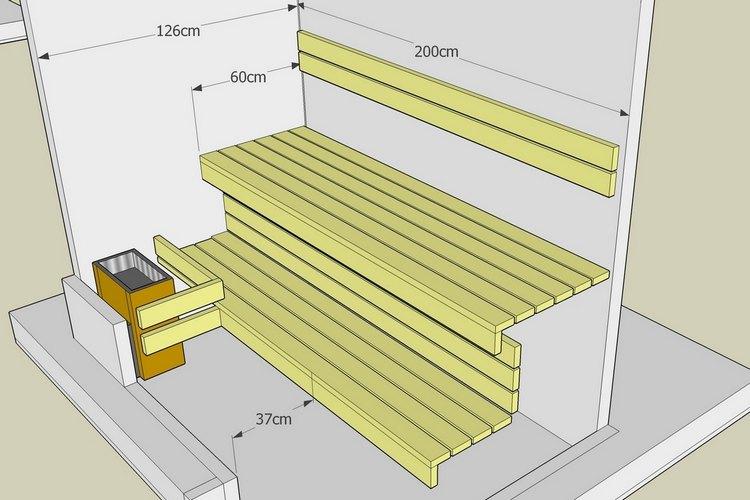 Как сделать полок для бани размеры 545